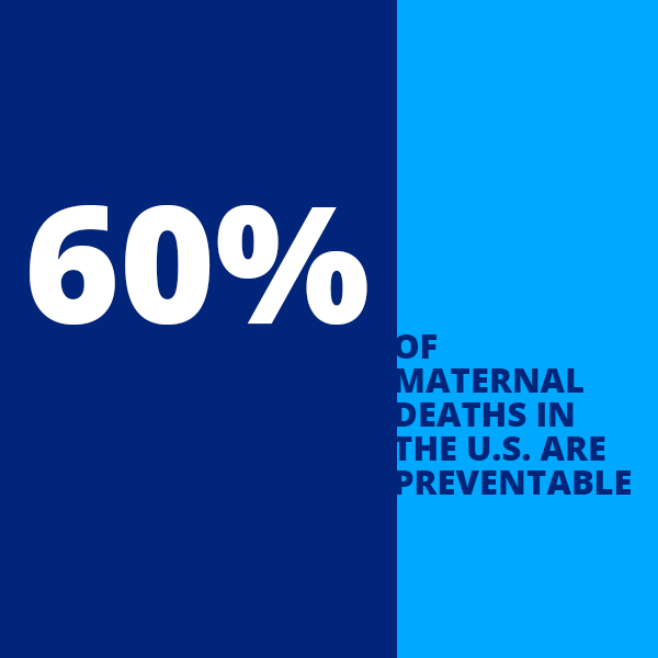 Info graphic with text: 60 percent of maternal deaths in the U.S. are         preventable.