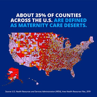 Info graphic with stethoscope text: 2 million women live in maternity         care deserts-counties with no hospital offering obstetric services and no ob providers