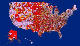 Map of counties of care deserts.
